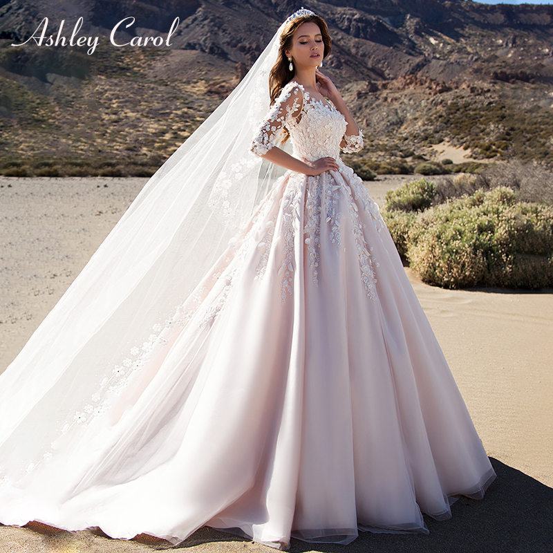 Ashley Carol Pink A-Line Wedding Dresses 2020 Vestido De Noiva Half Sleeves Princess Sexy Scoop 3D Flowers Vintage Bridal Gowns