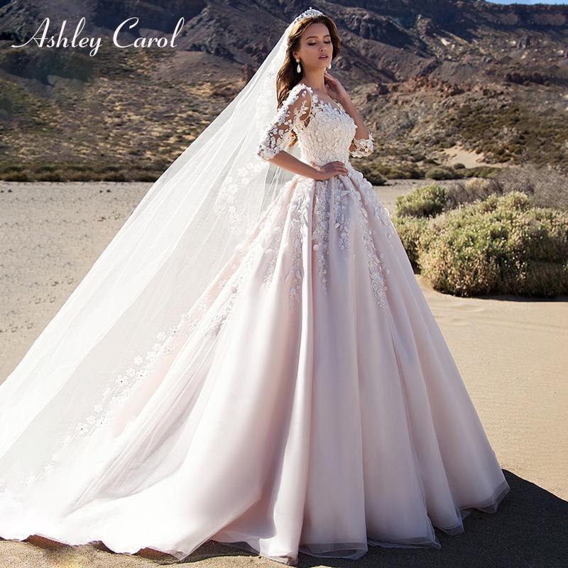 Ashley Carol Pink A-Line Wedding Dresses 2020 Vestido De Noiva Half Sleeves Princess Sexy Scoop 3D Flowers Vintage Bridal Gowns