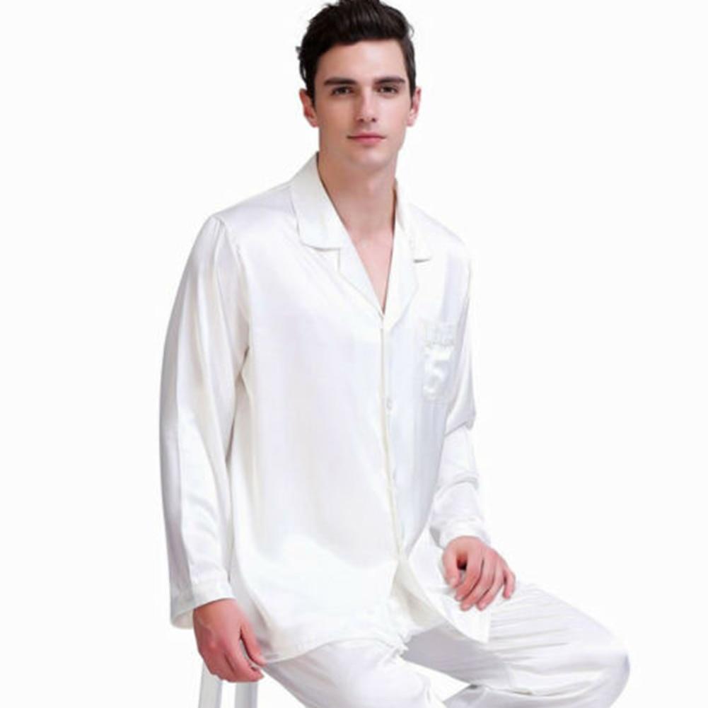 2020 Korean Men Satin Silk Sleepwear Pajamas Sets Comfortable Long Sleeve Black Shirts And Long Pant Sleepwear Homme Pajamas Set