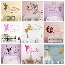 Fada nome personalizado estrelas e anjo arte vinil adesivo de parede para sala de crianças menina quarto decalques decorativos adesivos mural papel de parede