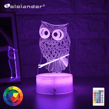 Più nuovo Kid Light Night 3D LED Night Light lampada da comodino da tavolo creativa romantico Owl light Kids Gril regalo per la decorazione domestica