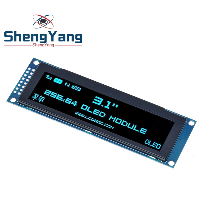 """ShengYang Real OLED Display  3.12"""" 256*64 25664 Dots Graphic LCD Module Display Screen LCM Screen SSD1322 Controller Support SPI"""