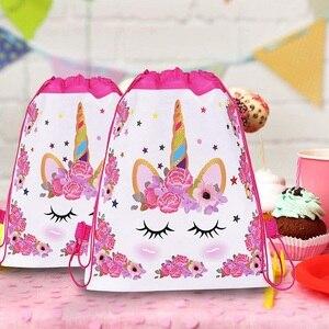 Image 2 - 1pc Cotton Unicorn Print Bag For Girls Kids Toys Soft Plush Drawstring Backpack For Children Toys Storage Bag Schoolbag For 1kg