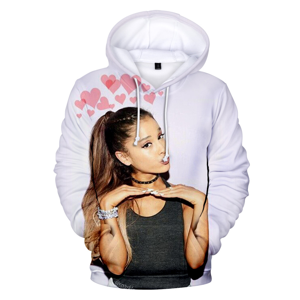 Popular Ariana Grande 3D Hoodies Women Men Pullover Fashion Harajuku Hip Hop 3D Print Ariana Grande Kids  Girls White Sweatshirt