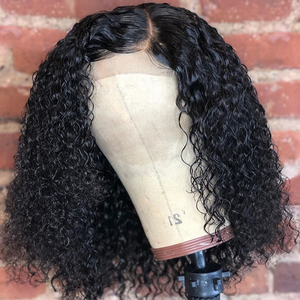 Image 3 - Kinky Curly 13x4 4x4 bob lace front wigs Human Hair Wigs Jerry Curly 100% Human Hair Wig Headband wigs perruque cheveux humain