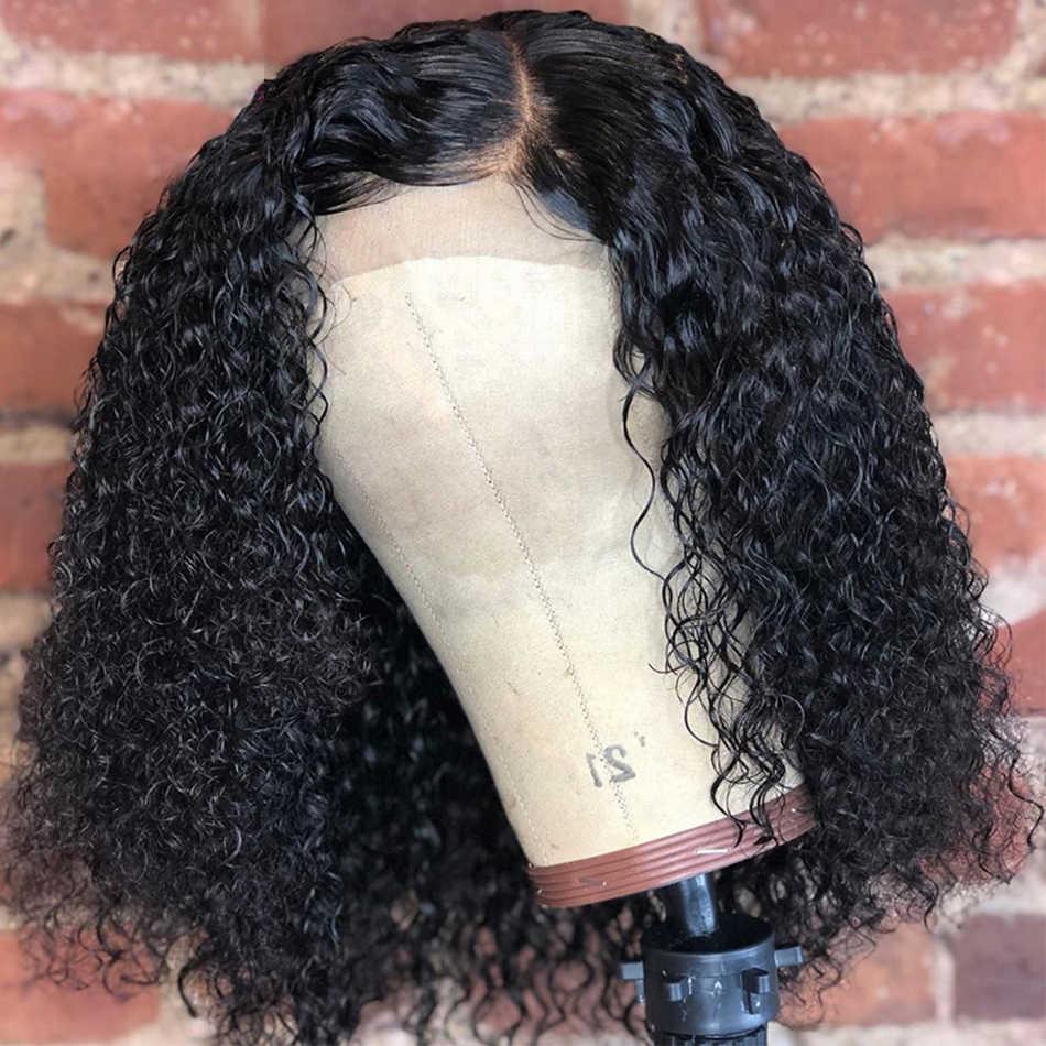 Kinky kıvırcık Bob dantel ön İnsan saçı peruk s brezilyalı Jerry kıvırcık 100% İnsan saçı peruk 150 180 yoğunluk perruque cheveux humain