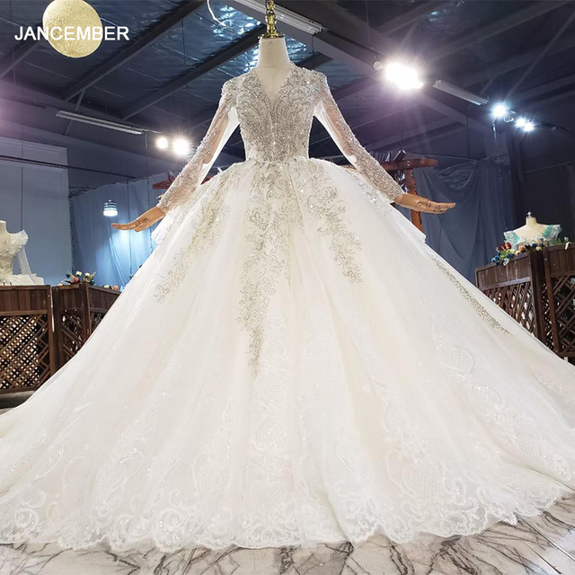 HTL1832 Champagne Crystal Wedding Dress 2020 V-Neck Long Sleeve Sequined Pearls Appliques Ball-Gowns 1