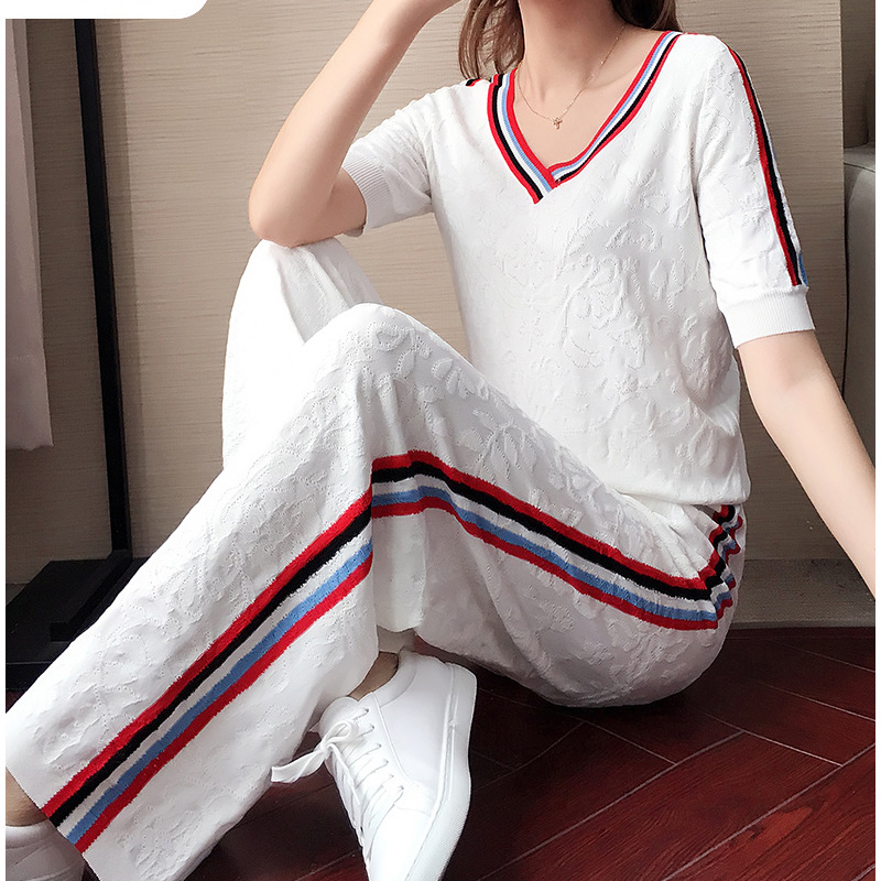 Casual Loose Pants WOMEN'S Suit Summer 2019 New Style Western Style Women's Fashion Viscose Knitted Sportswear Two-Piece Set