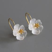 Original 100% Genuine 925 Pure Silver OL Rain Flower White Crystal Earrings Woman Boutique Jewelry Commemorative Gift Wedding