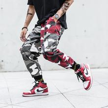 2020 Mens Fashion Splice joggers pants hip hop Streetwear Camo pants Cargo pants Men Camo Pants Mens Trousers US Size M-XXL cheap Full Length Flat REGULAR COTTON Midweight Twill Cuffs Drawstring 78608