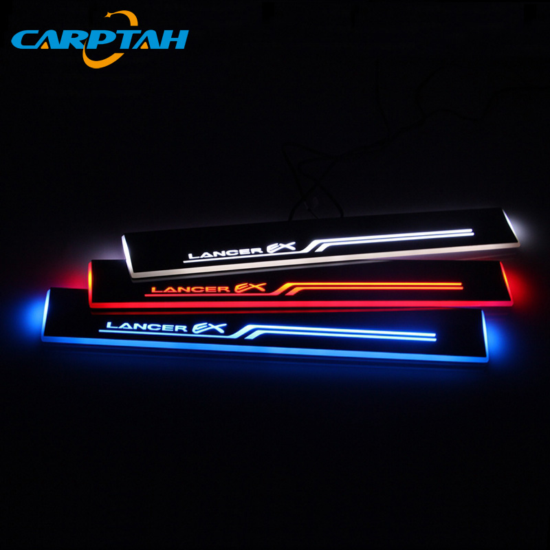 CARPTAH Trim Pedal Car Exterior Parts LED Door Sill Scuff Plate Pathway Dynamic Streamer light For Mitsubishi Lancer 8 9 10 Nerf Bars & Running Boards     - title=