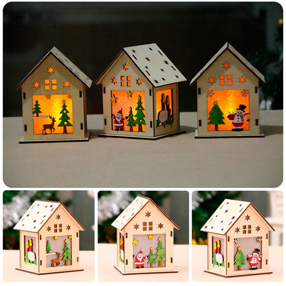 Image 3 - Ornaments Christmas Wooden House Merry Christmas Decor for Home Navidad 2019 Cristmas Decor Christmas Pendant New Year 2020-in Pendant & Drop Ornaments from Home & Garden
