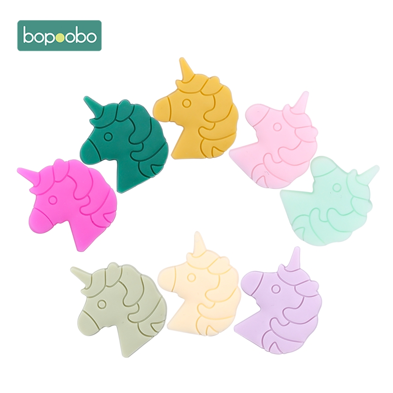 Bopoobo Cartoon Silicone Teether 5pcs Silicone Unicorn Head BPA Free  Silicone Beads Baby Teething Beads Silicone Baby Teether