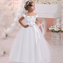 2020 Summer White One Shoulder Long Bridesmaid Dress Girl Bow Gown Kids
