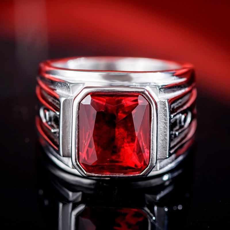 สีดำสีแดงหินผู้ชายแหวนไทเทเนียมสแตนเลสสตีลแหวน BIKER Gothic Punk ROCK Hip Hop เครื่องประดับ VINTAGE DCR012