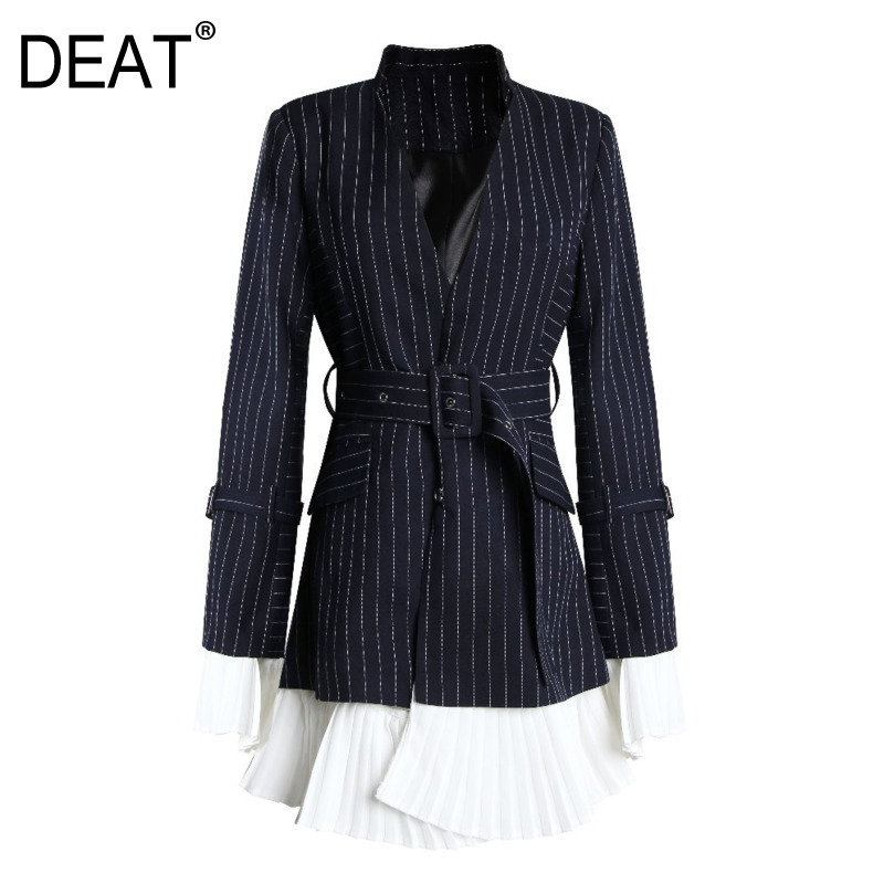 DEAT 2020 New Turn-down Collar Flare Sleeves Pleated Navy Striped High Waist Single Suit Women Blazer OL Fits Belts WD9150