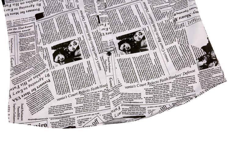 새로운 도착 캐주얼 비즈니스 격자 무늬 셔츠 남자 드레스 빈티지 신문 인쇄 긴 소매 camisa 사회 망 꽃 셔츠 M-3XL
