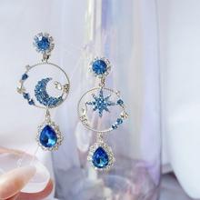 MENGJIQIAO koreański nowy mody elegancki księżyc gwiazda Bule Rhinestone spadek kolczyki dla kobiet dziewczyn kryształy krople Brinco biżuteria tanie tanio Ze stopu cynku CN (pochodzenie) TRENDY Moda Kobiety