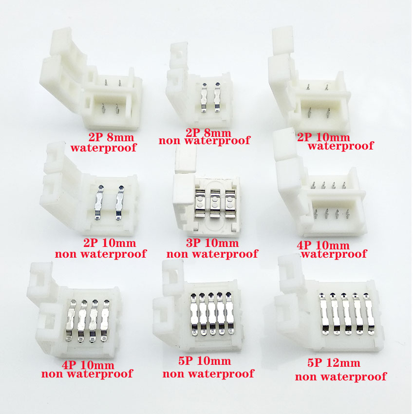 3pcs/lot 3pin 4pin 5pin <font><b>LED</b></font> <font><b>Connector</b></font> For connecting corner right angle 5050 RGB RGBW 3528 ws2812 <font><b>LED</b></font> <font><b>Strip</b></font> <font><b>Connector</b></font> terminal image