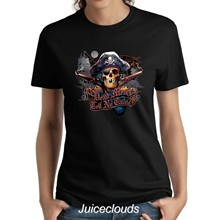 Pirate Ladies Shirt Dead Men Tell No Tales Tattoo Pirate Skull Womens Tee(China)
