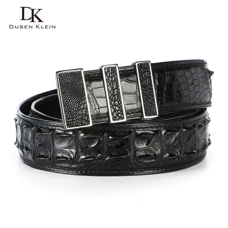 Cinturón de piel de cocodrilo de lujo de Tailandia para hombre, hebilla de acero inoxidable dumen Klein para hombre, cinturón de alta calidad de cocodrilo natural, DK E368 - 3