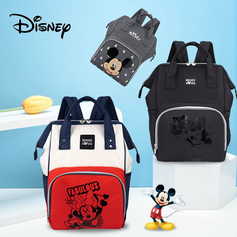 Disney Mickey Minnie Diaper Bag Backpack USB Large Capacity Mummy Diaper Bag Zipper Mother Maternity Nappy Bag Baby Stroller Bag