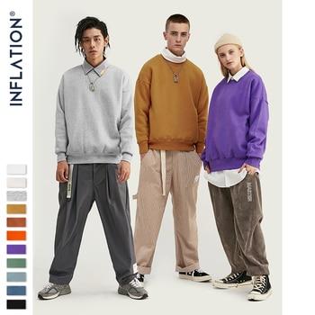 INFLATION 2019 Winter Mens Hip Hop Sweatshirts Velvet Fabrics Fleece Sweatshirts 10 Solid Color Men Thick Sweatshirts 166W17 фото