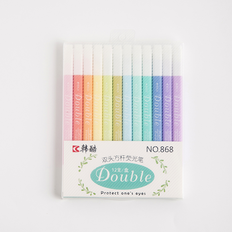 3 Set/Lot Dual Side Color Highlighter Marker Pen Bold Fine Tip Mild Colours Liner Drawing Pens Protect Eyes Office School A6797