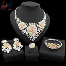 Yulaili New Fashion Women Luxury Crystal Big Flower Design Necklace Earrings Dubai Gold Jewelry Sets Nigeria Wedding Jewellery