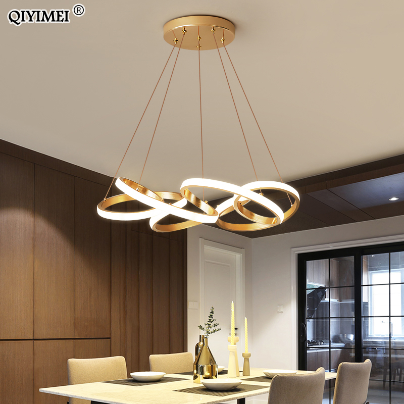 Gold Plated LED Pendant Lights Dining Room Kitchen New Lighting Lamp Cord Pendant Lamp With Remote Control AC85-260v Luminaire