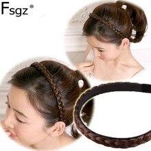 Модный твист ободок для волос в виде косички для женщин нейлоновый парик лента для волос для девочек коричневый черный шиньон украшение головной убор аксессуары для волос