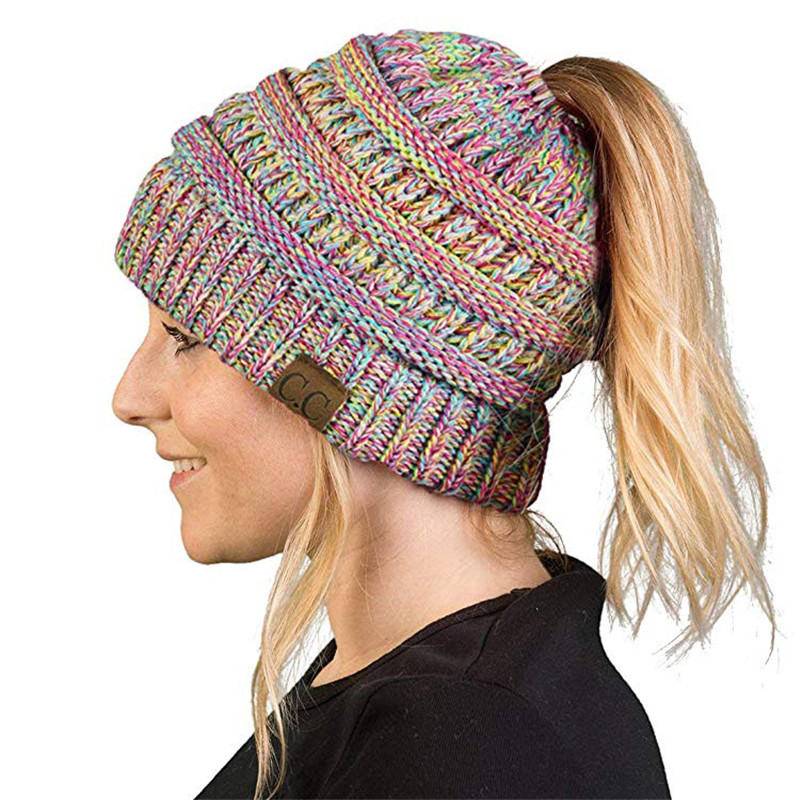 Women Winter Thermal Cap Knitting Wool With Top Middle Hole Ponytail Locked Elegant Lady Mixed Colors Colorful Headgears