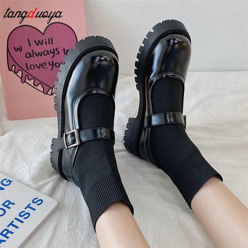Туфли в стиле «Лолита»; Черная обувь на высоком каблуке; Женская обувь на платформе; Модные туфли в стиле Мери Джейн; Женские туфли круглый н...