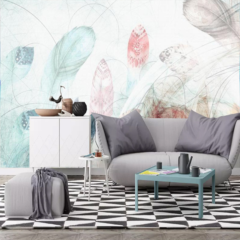 Modern Minimalist TV Backdrop Wallpaper Living Room Sofa Bedroom Wallpaper Seamless Mural Wall Cloth Northern European-Style Fea
