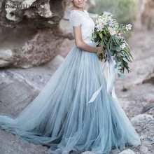 Custom Made Baby Blue Tutu Bohemian Fairy Long Train Bridal Skirt