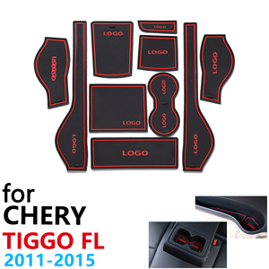 Image 1 - Anti Slip Rubber Cup Cushion Door Groove Mat for Chery Tiggo FL T11 facelift 2011~2015 2012 2013 2014 Accessories mat for phone