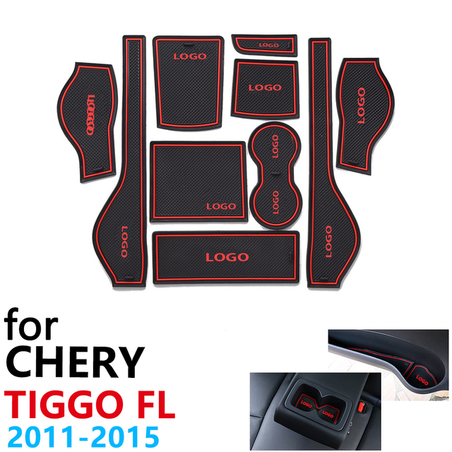 Anti Slip Rubber Cup Cushion Door Groove Mat for Chery Tiggo FL T11 facelift 2011~2015 2012 2013 2014 Accessories mat for phone