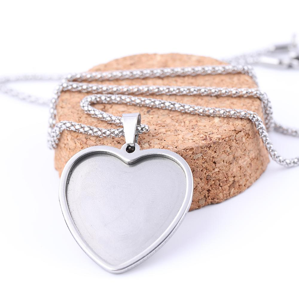 5pcs Stainless Steel Pendant Base Setting Fitting 25mm Heart Cabochon Trays Diy Blank 53cm Long  Chain Necklace Bezels