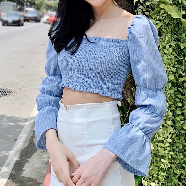Women Blouses Striped Square Collar Shirts Pleated Slimming Lantern Long Sleeve Camiseta Top One Size Vetements Femmes 1