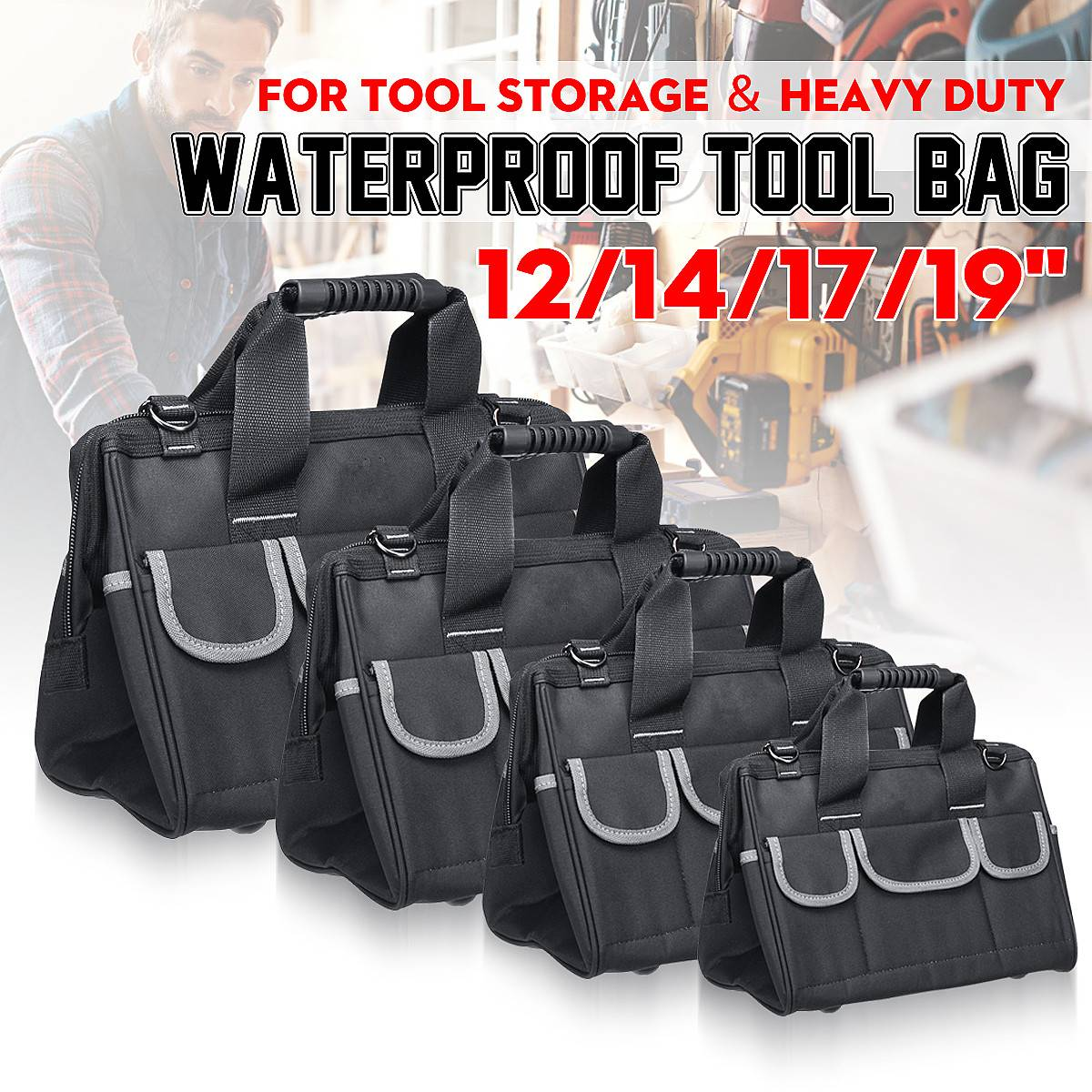 12/14/17/19 Inch Oxford Tool Bag Waterproof Hand Tool Storage Bag Electrician Bags Large Capacity Tool Organizer Pouch Bag Case