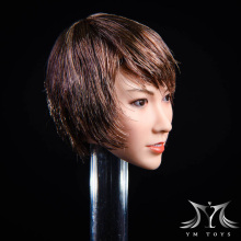 1/6 Scale Qian Plant Short Hair Asian Beauty Head Carving Long Curly Brown  YMT021 for 12 Hot Toys Action Figure Body