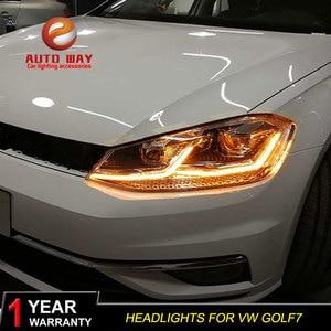Image 2 - รถจัดแต่งทรงผมหัวโคมไฟสำหรับVW Golf7 ไฟหน้าGolf 7 MK7 2013 2017 LEDไฟหน้าDRLเลนส์คู่beam Bi Xenon HID