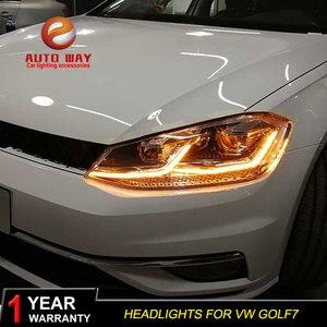 Image 2 - Автомобильный Стайлинг налобный фонарь чехол для VW Golf7 фары Golf 7 MK7 2013 2017 светодиодный ная фара DRL линза двойной луч Биксенон HID