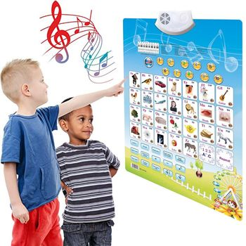 Electronic Interactive Alphabet Wall Chart Talking ABC & 123s Music Poster Best Educational Toy for Toddler Kids - discount item  32% OFF Learning & Education