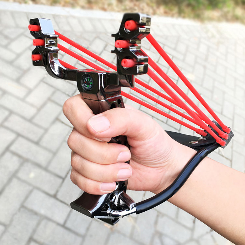 Big Power New Slingshot Outdoor Hunting Using A Foldable Slingshot With A Wrist Rest With Rubber Band Sling Shot Catapult
