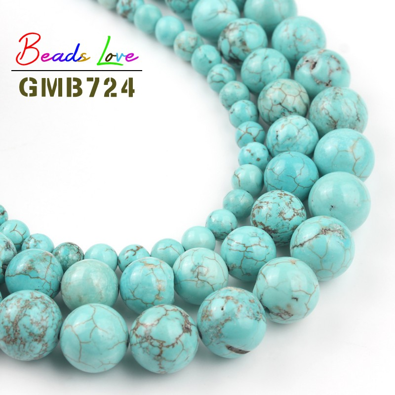 Diy 4//6//8//10//12mm Natural Stone Turquoise Round Beads fit bracelet necklace