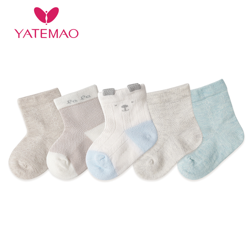 YATEMAO 5 Pairs/lot 0-2Y Baby Socks For Girls Cotton Mesh Cute Newborn Boy Toddler Socks Baby Clothes Kids Accessories
