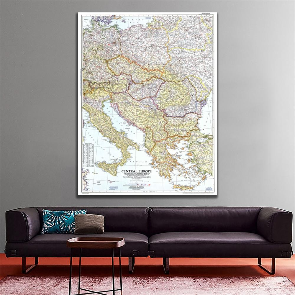A1 Size 1951 Edition Fine Canvas Map Of Central Europe Including The Balkan States Vinyl Spray Painting For Home Art Wall Decor