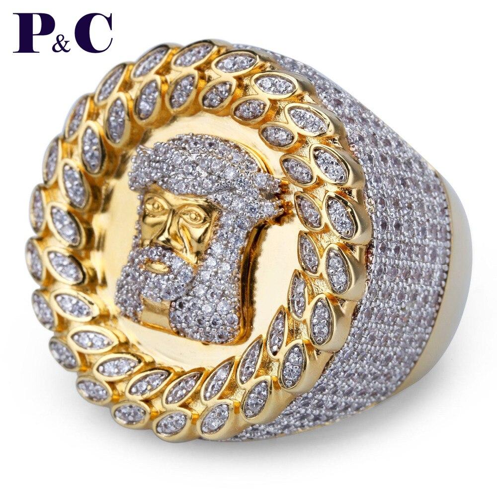 Hip Hop jésus anneau glacé Micro pavé CZ pierre cubaine anneaux femmes et hommes bague en or pour amour cadeau DropShopping
