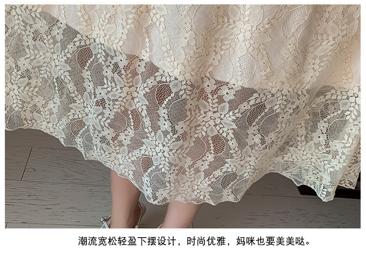 2020 Maternity clothing summer twinset lace maternity one-piece dress white embroidery maternity dress For Pregnant (7)
